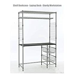 Heavy Duty Shelf Bookcase Solid Steel Metal Storage Rack Computer Laptop Desk Workstation Study Table Home School Office Space Saving Design Shelves #1310