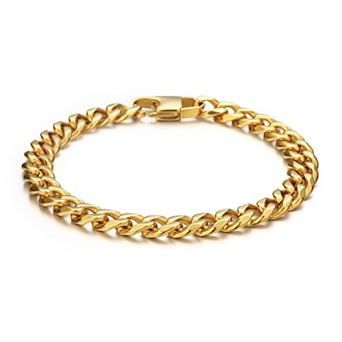 - FIBO STEEL 8 mm Wide Link Curb Chain Bracelet for Men Women Stainless Steel High Polished,8.5'' Gold-Tone