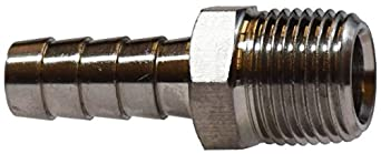 1//8 Hose ID x 1//8 NPT Midland 32-001SS Stainless Steel Machined Rigid Hose Barb Male Adapter
