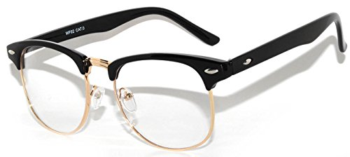 Retro Style Clear Lens Sunglasses Black-Gold Metal Half - Glasses Black Gold And