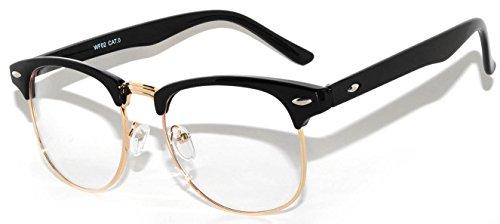 Retro Style Clear Lens Sunglasses Black-Gold Metal Half - Wayfarers And Gold Black