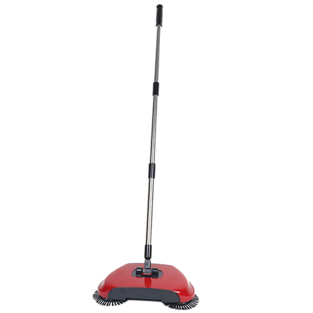 Lazy 3 in 1 Household Cleaning Hand Push Automatic Sweeper Broom – Including Broom & Dustpan & Trash Bin – Cleaner Without Electricity Environmental (Red)