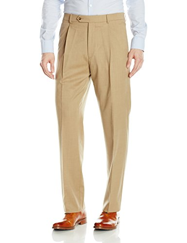 Hart Schaffner Marx Men's Single Pleat Chicago Fit Dress Pant, Tan, 34 Regular