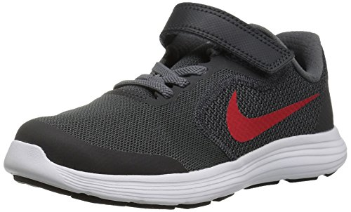 NIKE Kids' Revolution 3 (Psv) Running-Shoes, Black/University Red/Dark Grey, 1 M US Little Kid by Nike (Image #1)