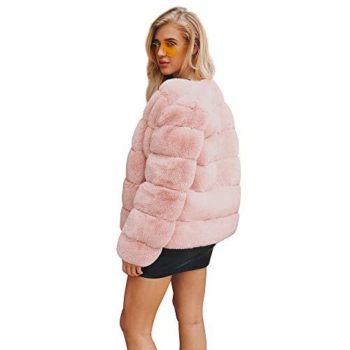 Tumblr Giubbotto Trench Casuale Cardigan Eleganti Giacche Lunga moda cappotto Giacca Donna Bazhahei Parka Manica Rosa Pelliccia Invernale Elegante Cappotto Sintetica Donna xoWBeEQrdC