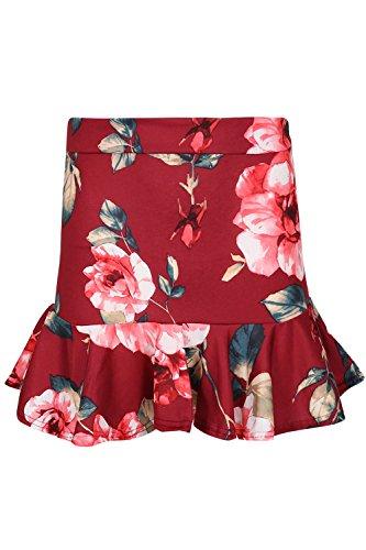 Be Jealous femmes ébouriffé ourlet volanté imprimé Floral élastique femmes SWING PLISSÉ moulant MINI ROBE JUPE UK taille 8-16 - Crème, Plus Size UK 16