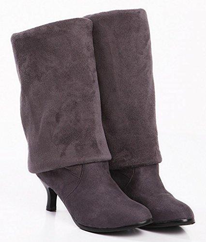 Idifu Mujeres Dressy Stiletto Mid Heels Medias Sobre La Rodilla Botas Largas Muslo Botines Gris