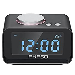 """Alarm Clock, AKASO Digital Clock with FM Radio, Dual USB Charging ports, Snooze, Music share, 5-level Dimmer for Brightness, Thermometer, 3.2"""" LCD Display, Clock Radio for Bedroom, 12/24hr Time Switch"""