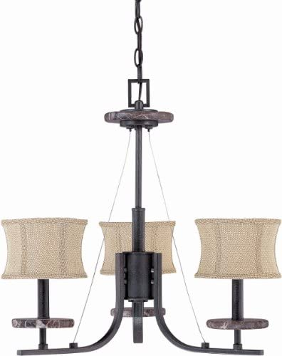 Nuvo 60 1441 3 Light Chandelier with Carmel Houndstooth Fabric Shades