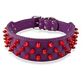 "Dogs Kingdom Leather Red Spiked Studded Dog Collar 2"" Wide, 31 Spikes 52 Studds,Pet Collar"