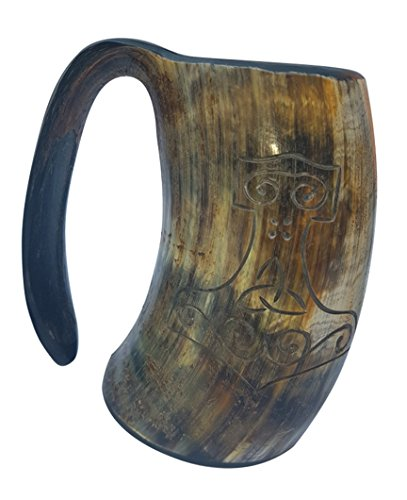 BRANDED Bull Horn Thor's Hand Engraved Handcrafted XL Handmade 6 Inch Game of Thrones style Drinking Mug Viking Beer Tankard/Wine Mug 20 -