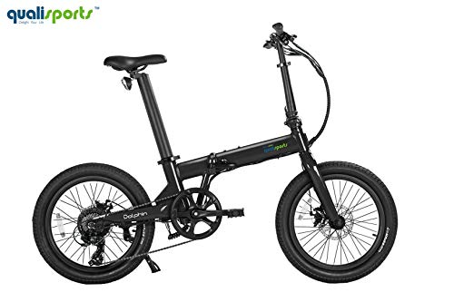 QUALISPORTS Dolphin 20″ Folding Electric Bicycle Wide Tire E-Bike with Strong 350W Hub Motor, 36V/14Ah Battery, Range 50+Miles, 20MPH Max Speed Hybrid Foldable Ebike(Black)