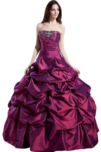Sunvary Glamour Traegerlos Abendkleider Lang Satin Ballkleider ...