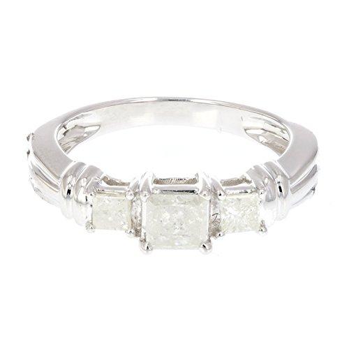 1 CT Princess Cut Diamond 3 Stone Ring 14K White Gold Size 7