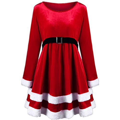 Women's Mrs. Santa Claus Costume Christmas Velvet Holiday Party Midi Dress with Belts (Red, 4XL)