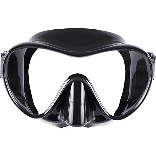 IST MP110 Frameless Dive Mask, Single Panoramic Shatterproof Lens for Scuba Diving & Snorkeling (Black Silicone)