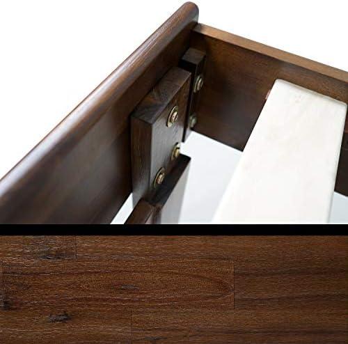 Acacia Aurora 14 Inch Wood Platform Bed Frame with Headboard, Queen, Chocolate