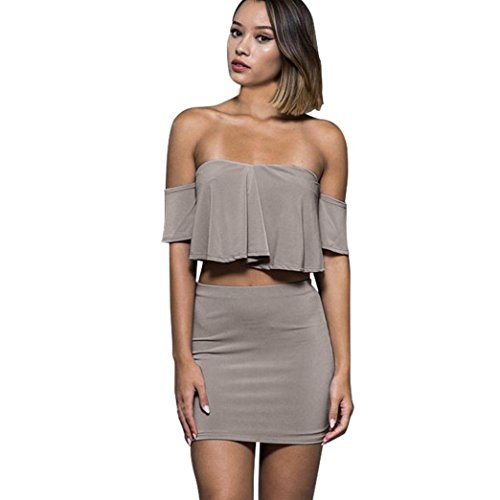 Maple Set Side Table (NewKelly Women Sexy Off Shoulder Two Pieces Clubwear Ruffles Party Top Skirt Set (Gray, L))