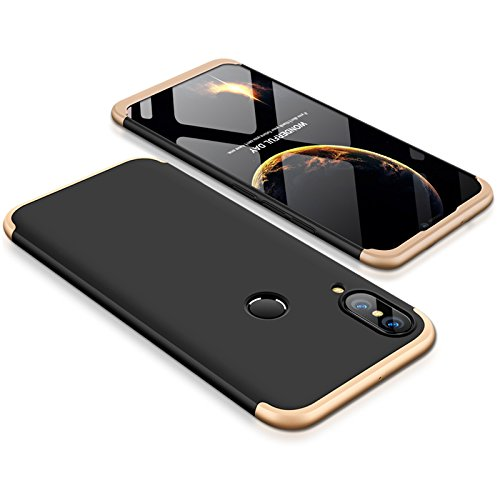 Huawei P20 Lite Case Slim 3 in 1 Hard PC Matte Surface Non Slip Shockproof Anti-Scratches Full Body Protective Cover for P20 Lite (2018) (Black Gold, Huawei P20 Lite)