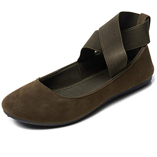 alpine swiss Peony Womens Ballet Flats Elastic Ankle Strap Shoes MS Olive 5 M ()