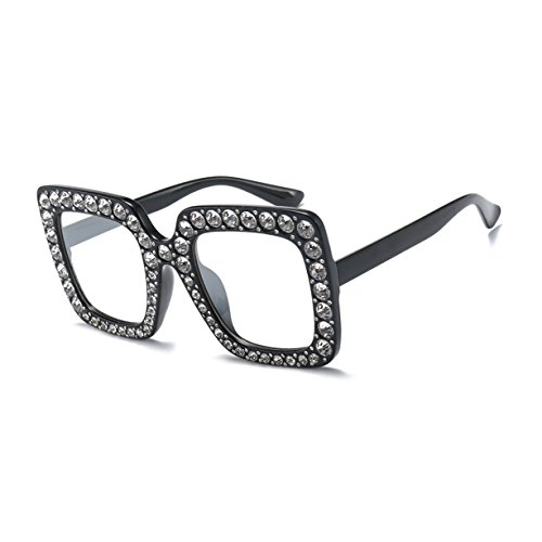 AIMADE Women Sunglasses Oversized Square Crystal Brand Designer Shades - Big Glasses Face