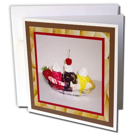3dRose Susan Brown Designs Dessert Themes - Banana Split - 1 Greeting Card with envelope (gc_14813_5) for $<!--$1.99-->