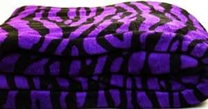 Twin Size Animal Print Fleece Blanket Leopard Zebra Giraffe Soft Plush Microfiber Throw Blankets (Purple zebra)
