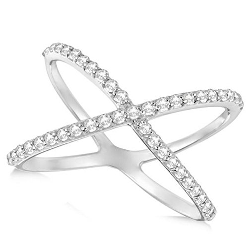 Abstract Design Ring - Ladies X Ring w/Pave Set, Round Shaped Diamonds in an Abstract Design 14k White Gold 0.50ct