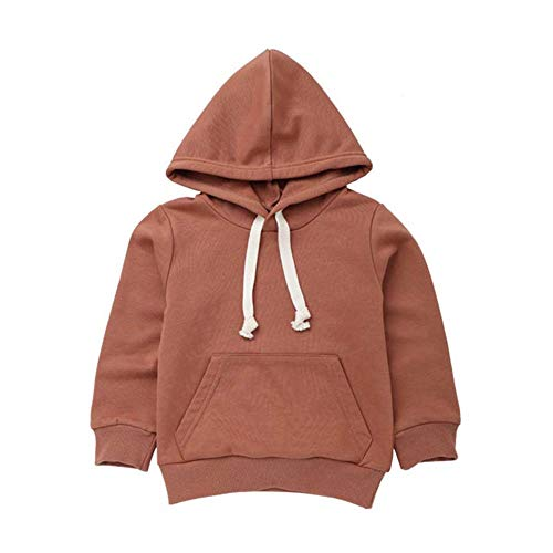 Baby Toddler Boys Girls Fall Winter Clothes Hoodie Sweatshirts for 2-7 Years Old,Kids Solid Pocket Pullover Tops (5-6 Years Old, Brown) -
