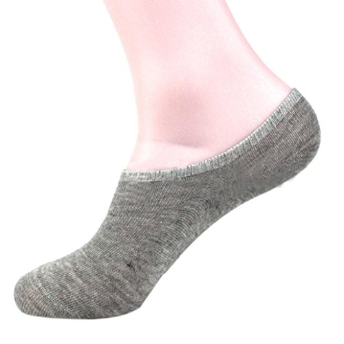 Vovomay Men Casual Socks, Cotton Solid Colour Invisible Low Cut Ankle Short Socks (Gray)