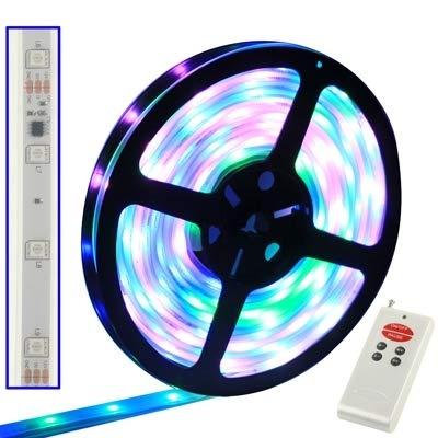 WarmHome Casa Custodia Impermeabile Full Colore LED 5050 SMD Luce di Corda con Controller LED e Telecomando RF, Lunghezza  5 M, 30 LED M Bellissimo