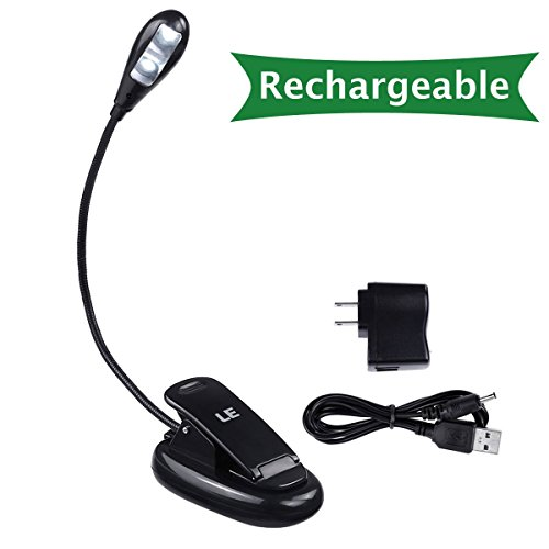 LE¨ Rechargeable LED Book Light, Portable and Flexible, 2-Level Brightness, AC Adaptor and USB Cable Included,