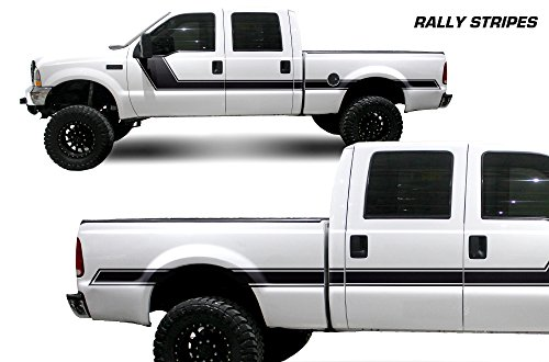 Factory Crafts Rally Stripe Side Graphics Kit 3M Vinyl Decal Wrap Compatible with Ford F-250 Crew Cab 6.75 Bed 1999-2006 - Matte Black