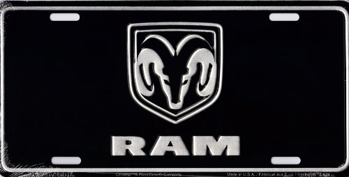 (CHROMA 001961 Brushed Aluminum 'Dodge RAM' Metal Tag License Plate)