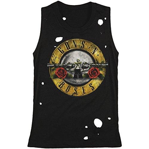 Bravado Guns N Roses Womens Circle Guns Destroyed Womens Tank Black