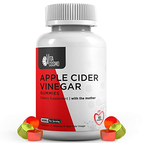 Apple Cider Vinegar Gummies   with The Mother, Unfiltered & All-Natural   Helps with Cleanse, Detox, Digestion   Gluten…