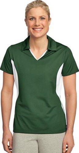 Sport-Tek Women's Side Blocked Moisture Sport Shirt, Forest Green/White, X-Large