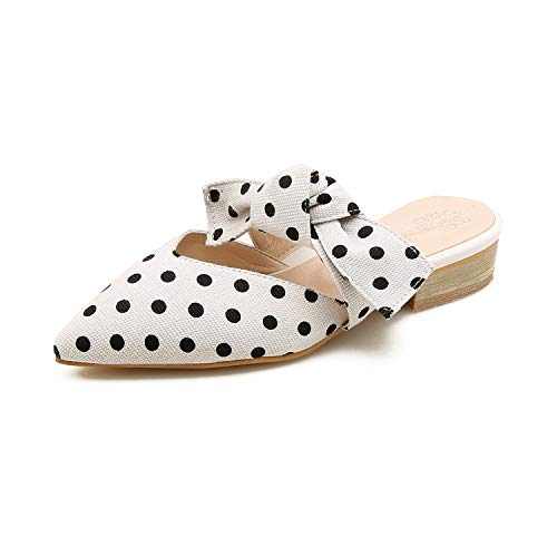 Girl21 Large Size 34-44 Women Sandals Pointed Toe with Bowtie Summer Mules Sexy Wedding Shoes,Black,11