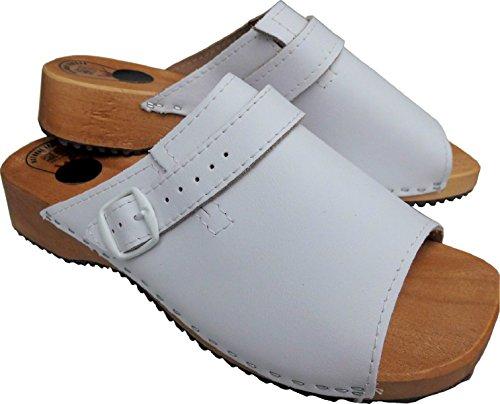 Lusy011 Holz (e) Clogs - Pantolette Gr.36, 37, 38, 39, 40, 41 Weiß, Echt Leder (Made in Poland 476) Weiß
