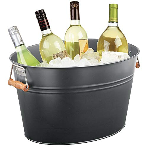 mDesign Metal Beverage Tub & Soda Pop, Beer, Wine, Ice Holder – Portable Party Drink Chiller – 18 Liter Container – Rustic Vintage Farmhouse Oval Storage Bucket Bin – Graphite Gray/Wood Handles