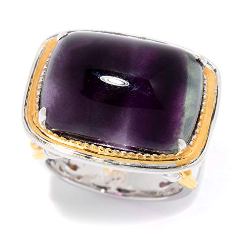 Yellow Ring Fluorite - Michael Valitutti Palladium Silver Bi-Color Fluorite Cabochon High Set East-West Ring