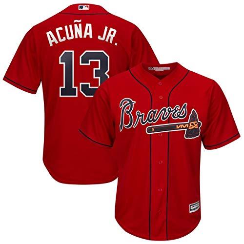 Men's #13 Ronald Acuna Jr. Atlanta Braves 2019 Cool Base Player Jersey Red ()