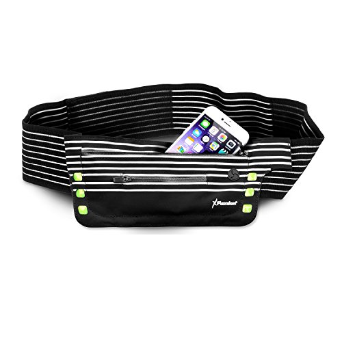 Flexsion Running Belt Waist Pack - Best Gear For Runners - for All Phones Including iPhone 7/6S/6/6 Plus - with LED Lights and Key/Card Zipper Holder - Waterproof and Sweat Resistant (Fanny Pack Alternative compare prices)