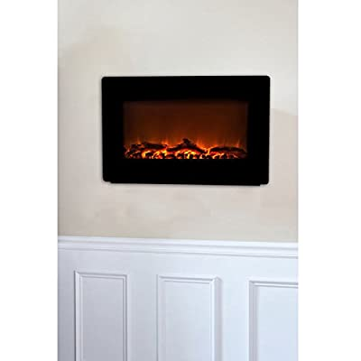 Fire Sense Black Wall Mounted Electric Fireplace-P