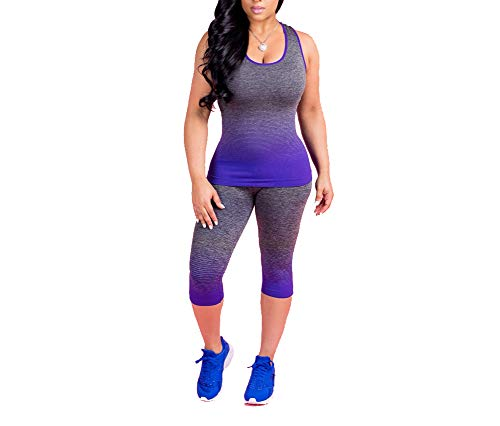 BANLAN Women 2 Piece Jumpsuits Gradient Color Tank Top Cropped Pants Set Tracksuits Blue