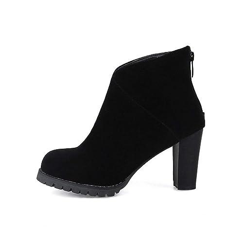 Botines Mujer Plataforma de Peluche Zip Up Tacones Altos 2018 Zapatos de Invierno: Amazon.es: Zapatos y complementos