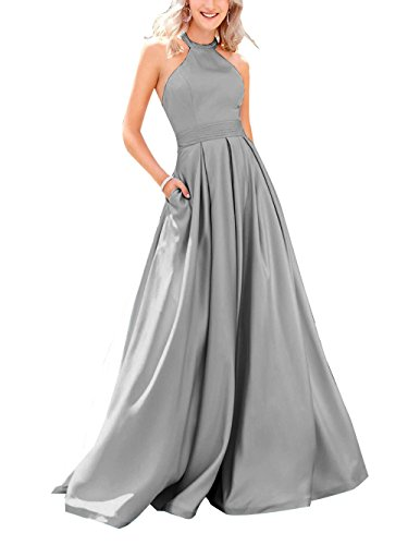 High Gray Neck Prom Satin Dresses Bridal Light Dresses Beauty Party Beaded Evening Long Womens wxHnEWF