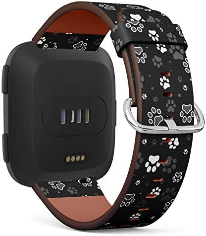 Dog Paws Pattern - Patterned Leather Wristband Strap CompatibleFitbit Versa / Dog Paws Pattern - Patterned Leather Wristband Strap CompatibleFitbit Versa