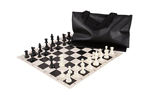 Superior Chess Set Combination - Single Weighted - Black Bag / Board - by US Chess Federation (Chess Superior Board)