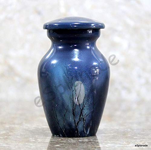 - eSplanade Cremation urn Memorials urns Container Jar Pot | Metal Urns | Burial Urn | Memorials Keepsake urn (Blue Moon)